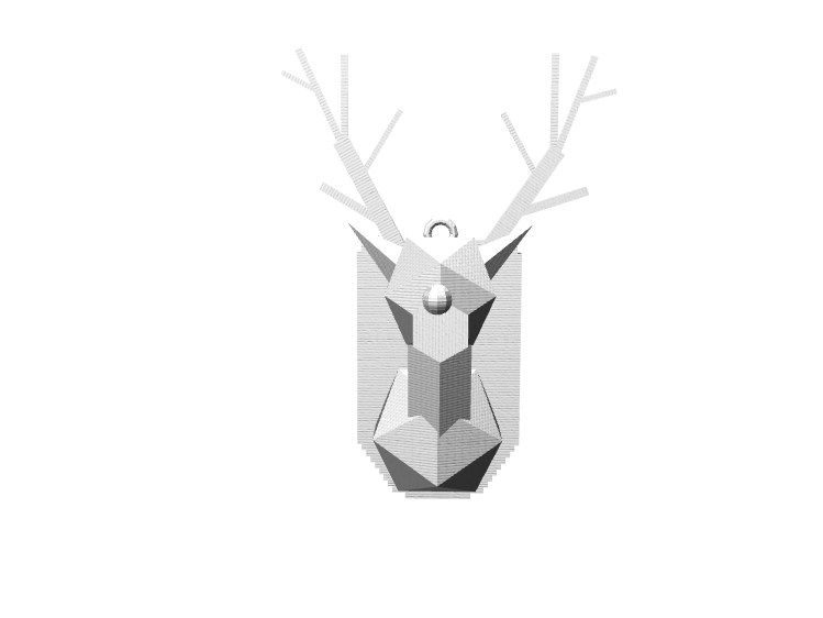 Christmas Ordainment: Reindeer Head - 3D design by cdudis21 on Dec 6, 2017