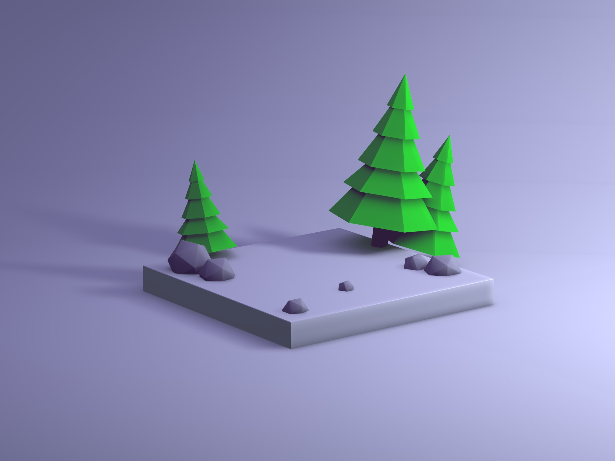 Low poly forest base for your model - 3D design by Vectary templates Jun 2, 2018