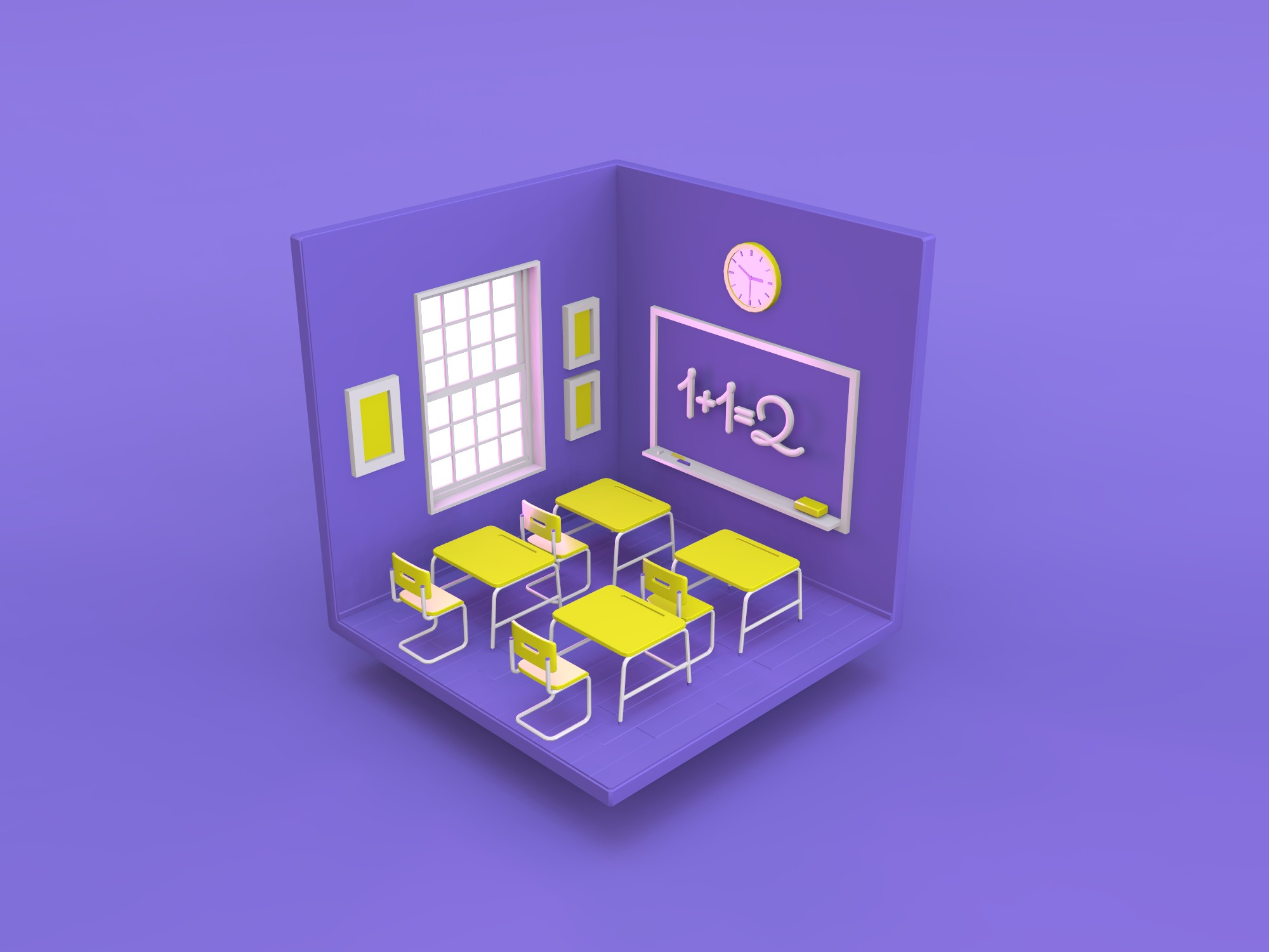 Isometric classroom - change the color and materials - 3D design by Vectary templates on Jun 5, 2018