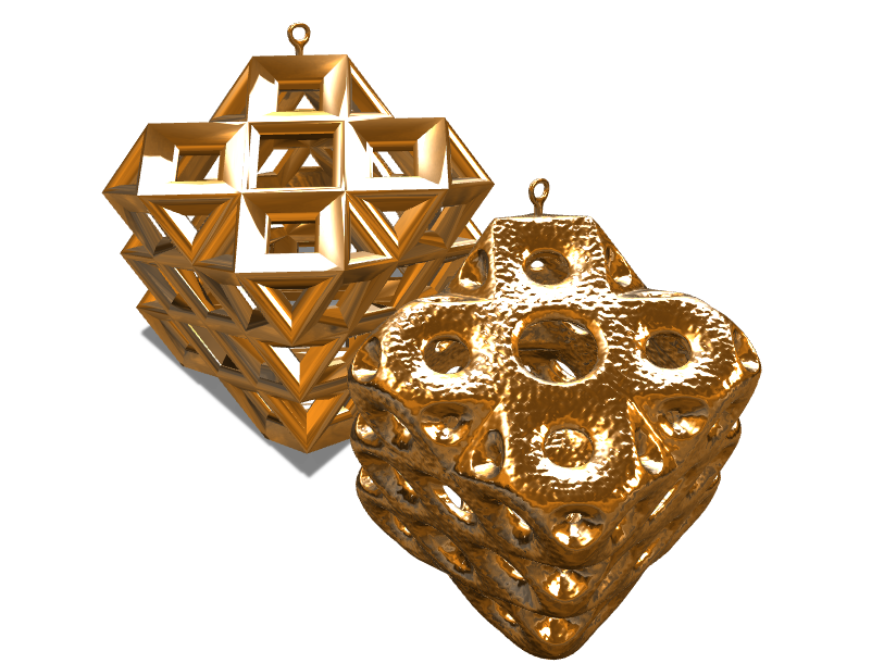 Pair (Smooth n Hard) of Square Baubles - 3D design by Peter Bock Nov 24, 2017