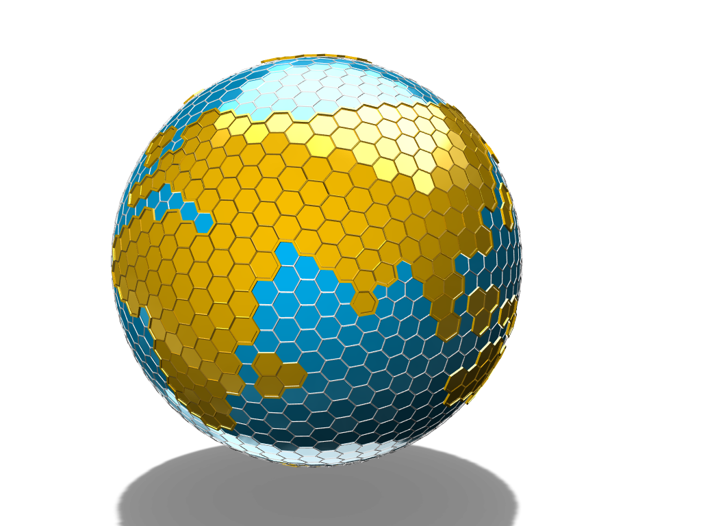 Hexagon Planet Earth - 3D design by BlockedGravity on May 5, 2018