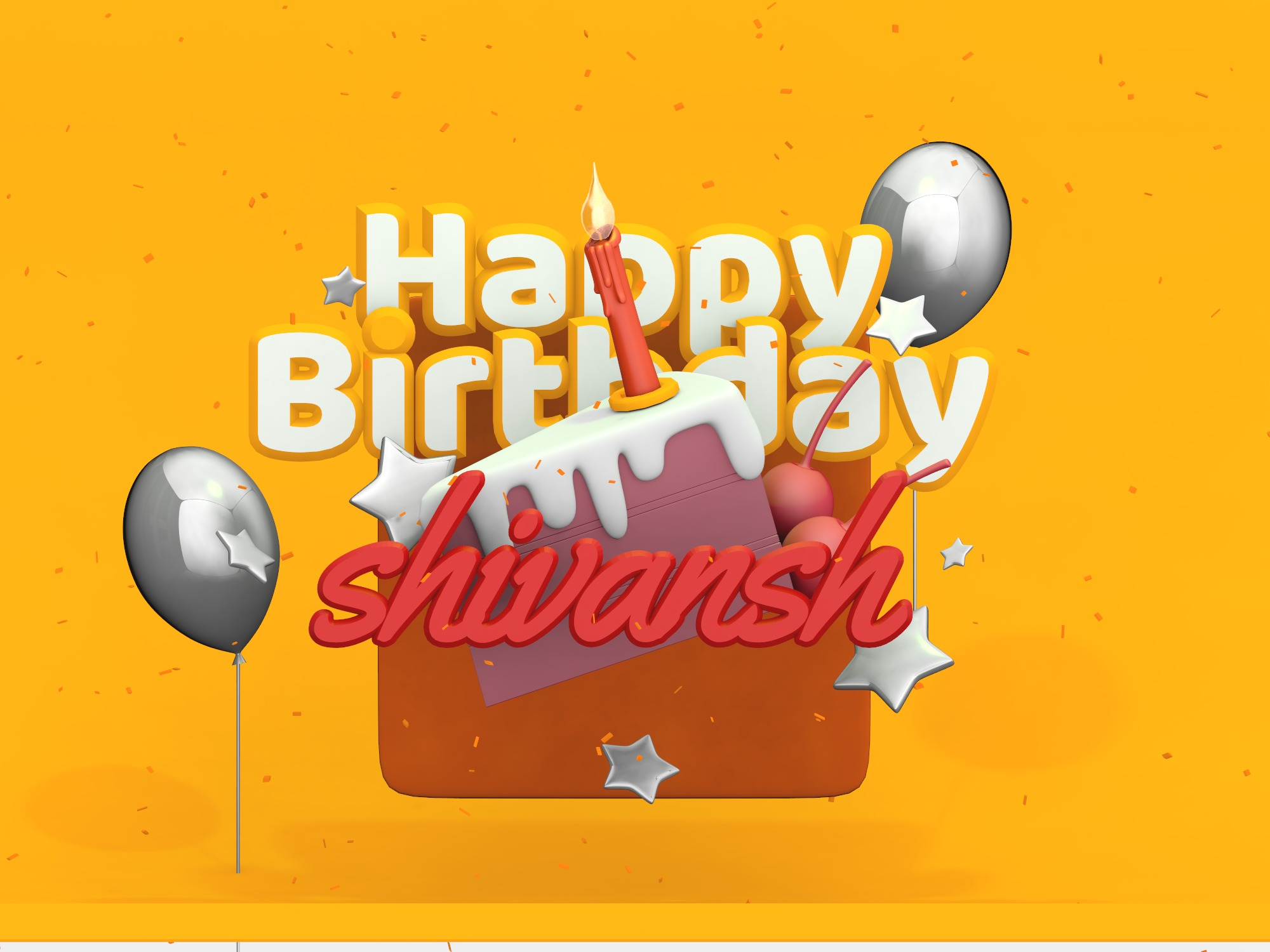 Birthday card - rewrite the name (copy) - 3D design by