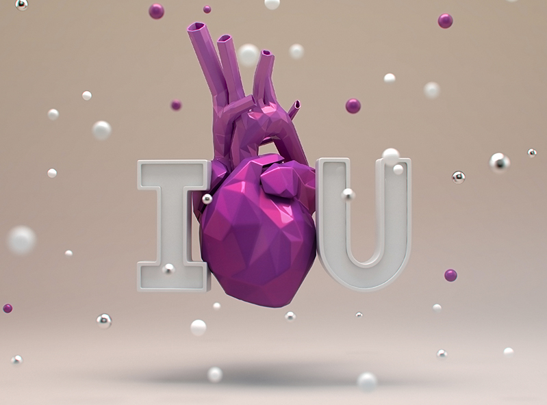 I Love U | Valentine's Day Card - 3D design by VECTARY Feb 14, 2018