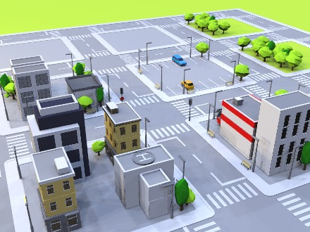 Build a city - drag and drop objects - 3D design by Vectary