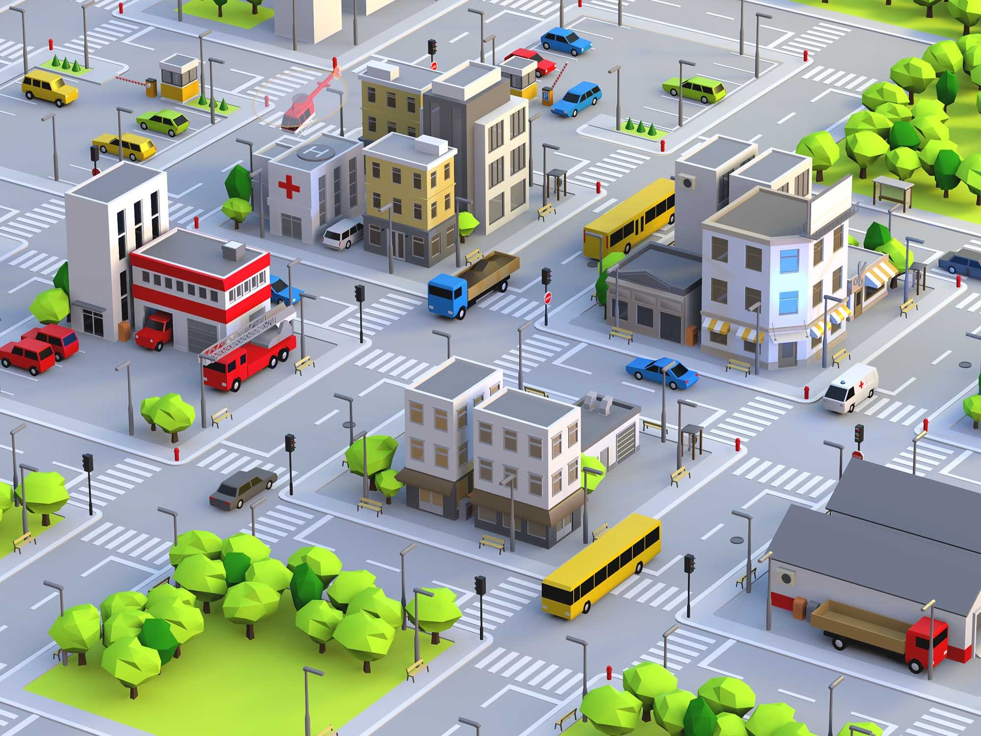 Build a city - drag and drop objects - 3D design by Vectary templates Jul 18, 2018