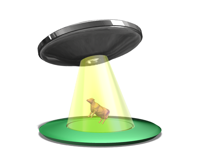 "UFO Lamp. Alien Abduction. ""Not the Cow!"" - 3D design by naomi.kendall Sep 19, 2017"