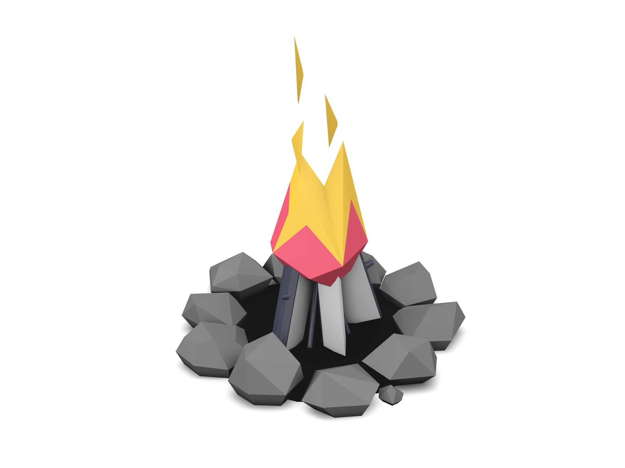 Bonfire low poly - 3D design by Vectary assets Aug 14, 2018