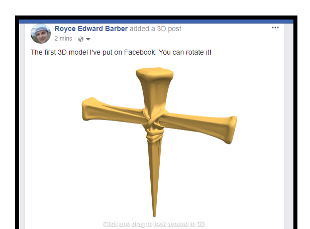 cross for facebook - 3D design by Royce Edward Barber on Feb 28, 2018