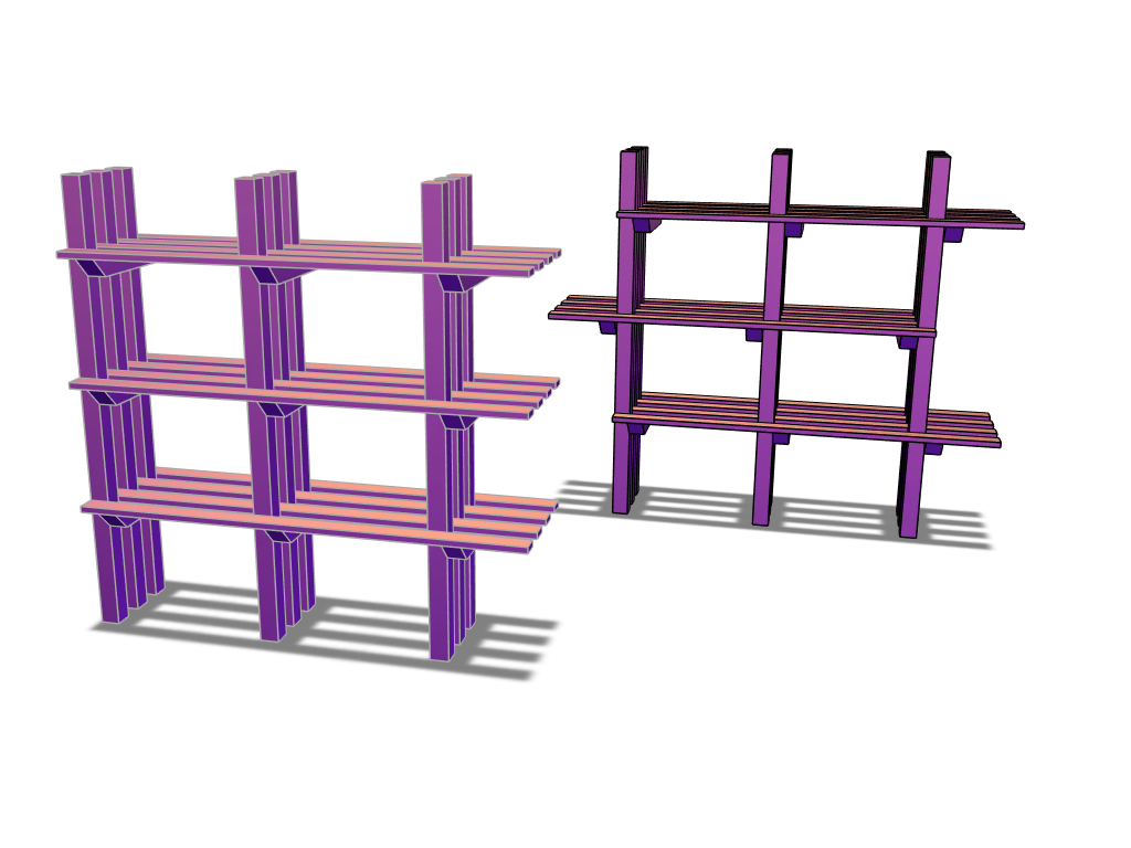 Shelves_2 options (approx $50 of lumber) - 3D design by aaron.o.stowell on Apr 24, 2018