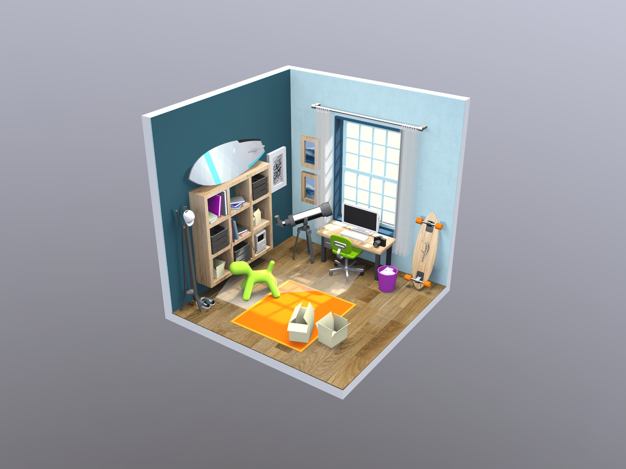 Isometric student's room  - 3D design by Vectary templates on Jun 4, 2018