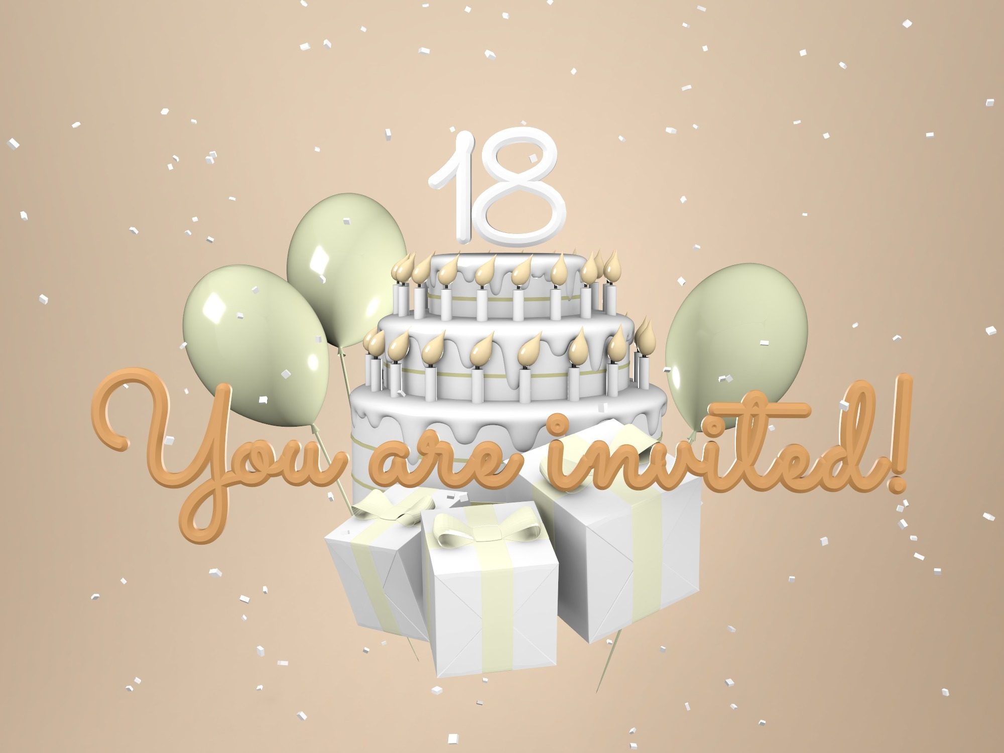 Birthday invitation - rewrite the text - 3D design by Vectary templates Jul 16, 2018