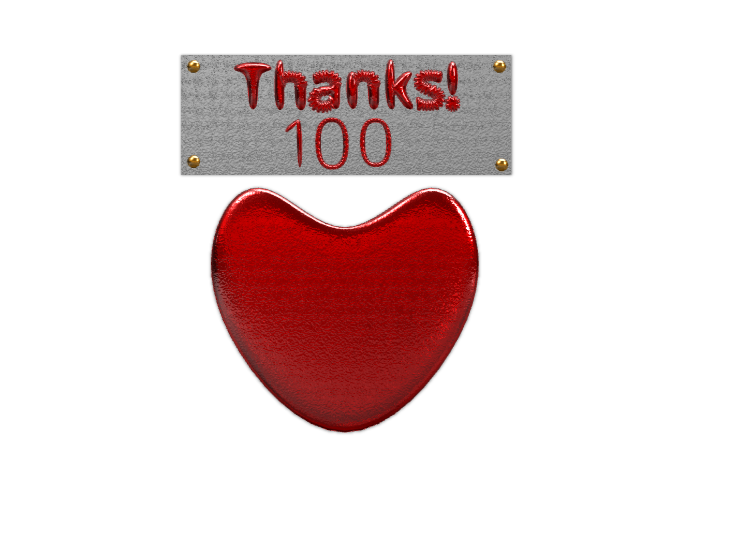 Thanks for 100 likes! - 3D design by Dylan Manion on Nov 8, 2017