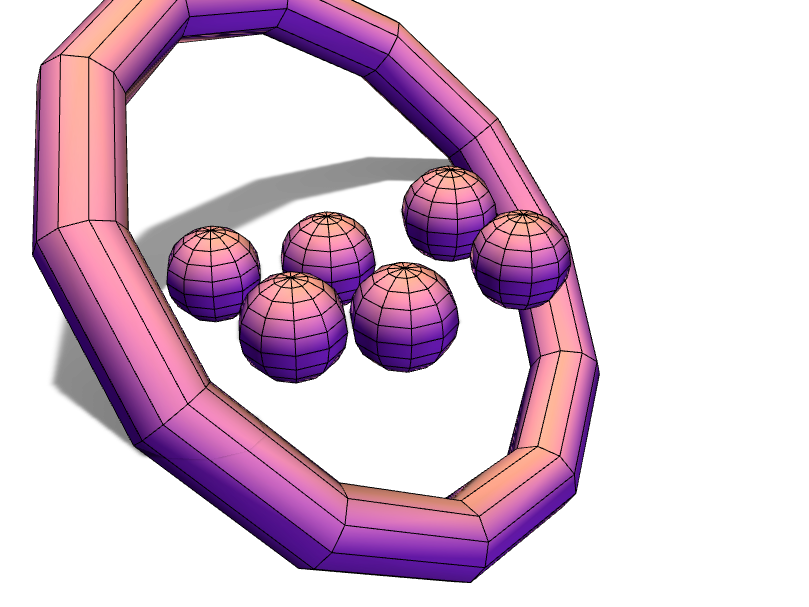 The sixlets of balls and a ring - 3D design by jhdmillion on Apr 25, 2018