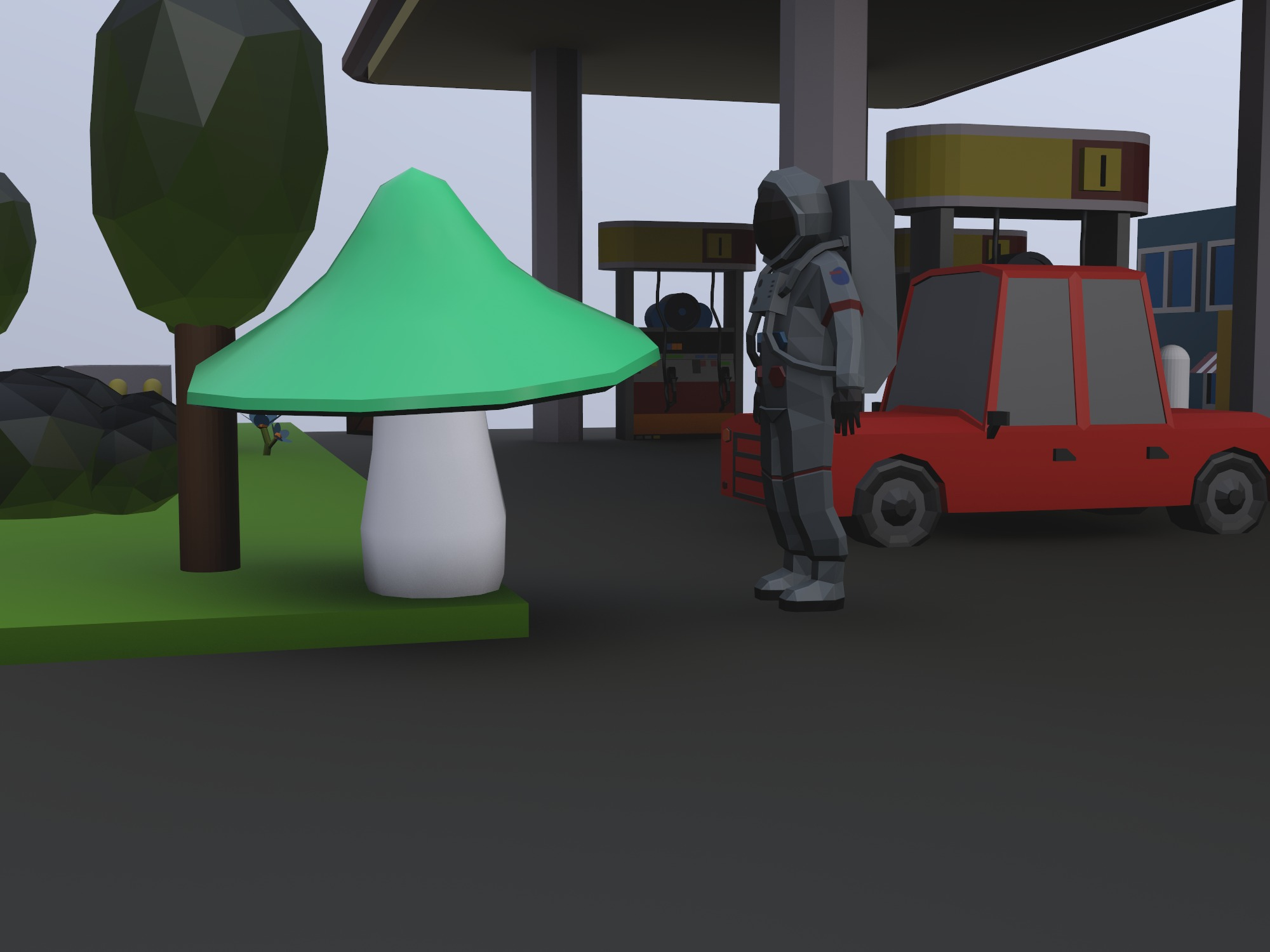 astronaut at a gas station - 3D design by Hristo Bakovski on Dec 12, 2018