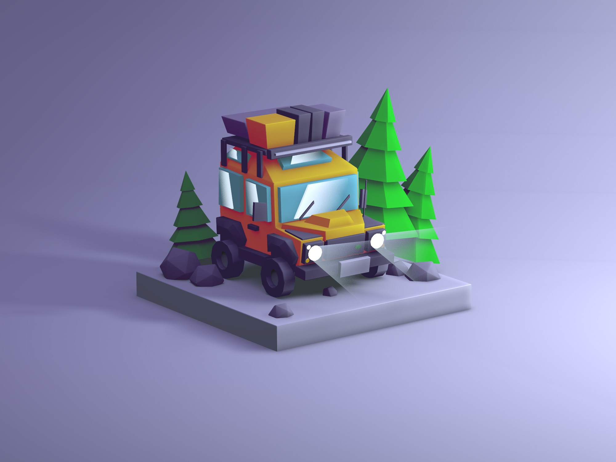 Low poly car illustration - 3D design by Vectary templates Jun 2, 2018