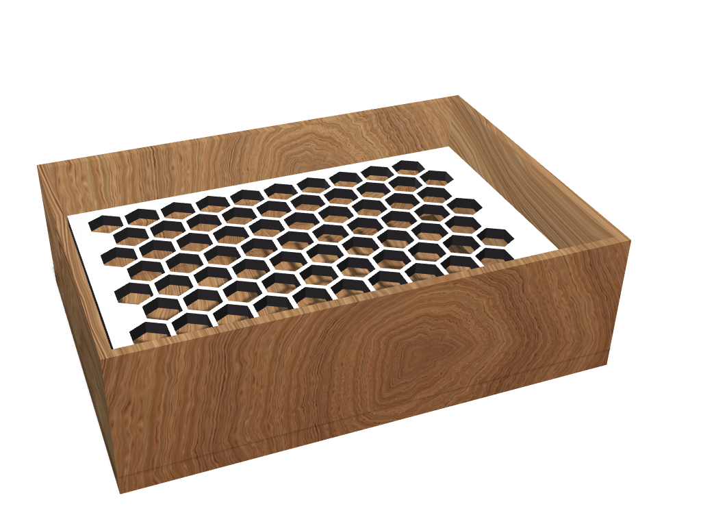 Box with honeycomb grid - 3D design by Andrej Petrovič Apr 22, 2017