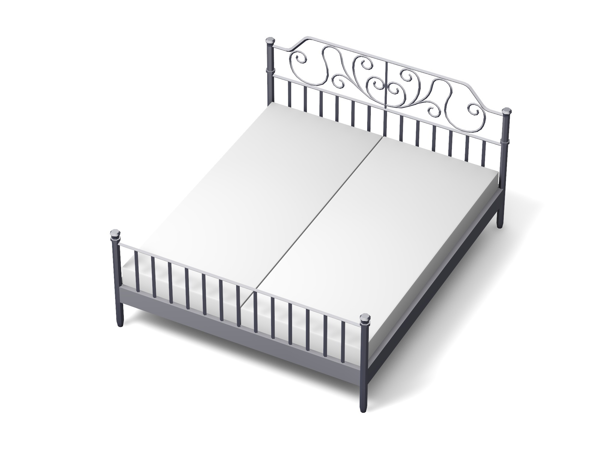 Double bed with steel frame - 3D design by Vectary assets Sep 10, 2018