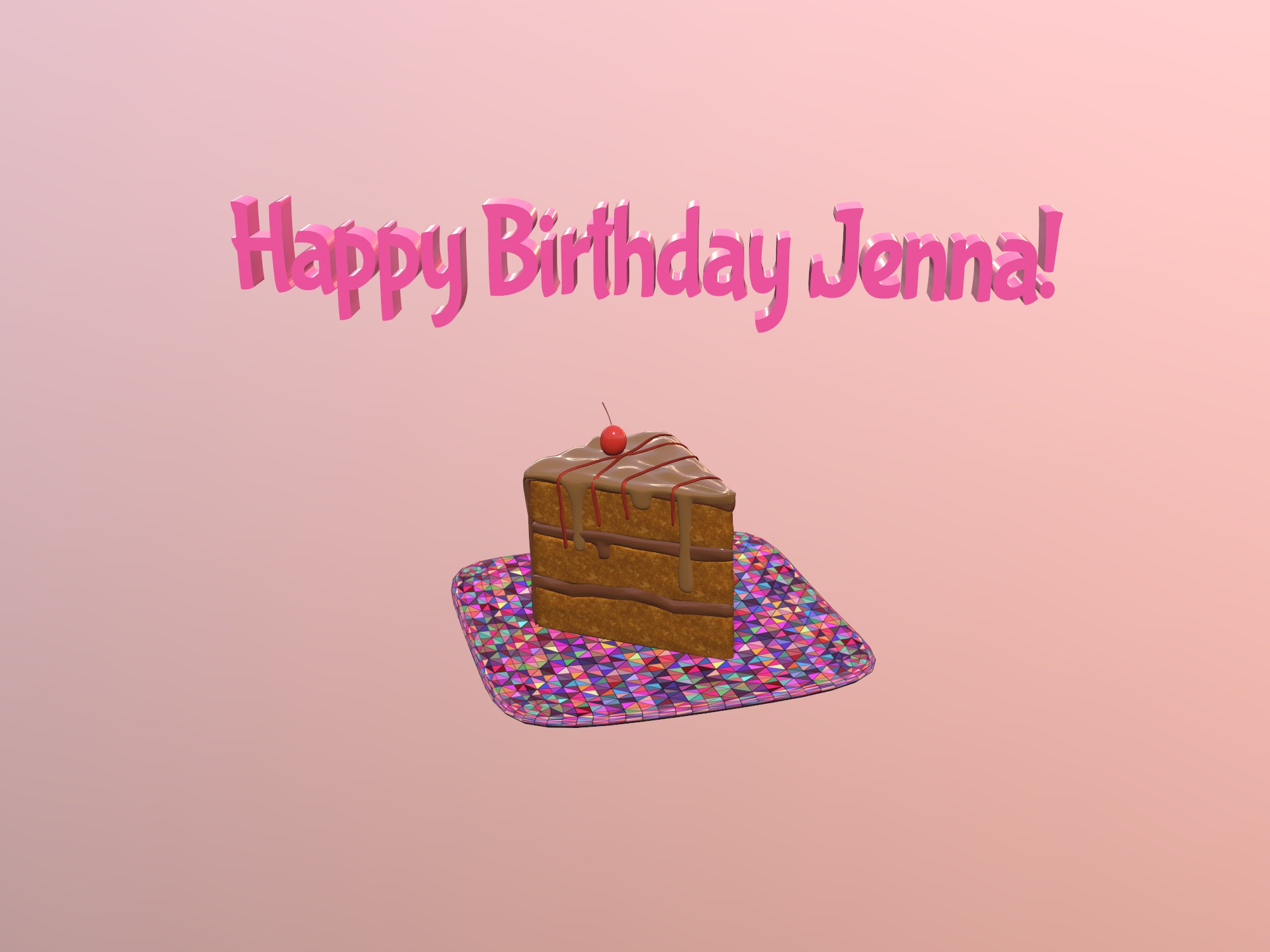 Happy Birthday Jenna (copy) - 3D design by cathyrose on Jan 16, 2019