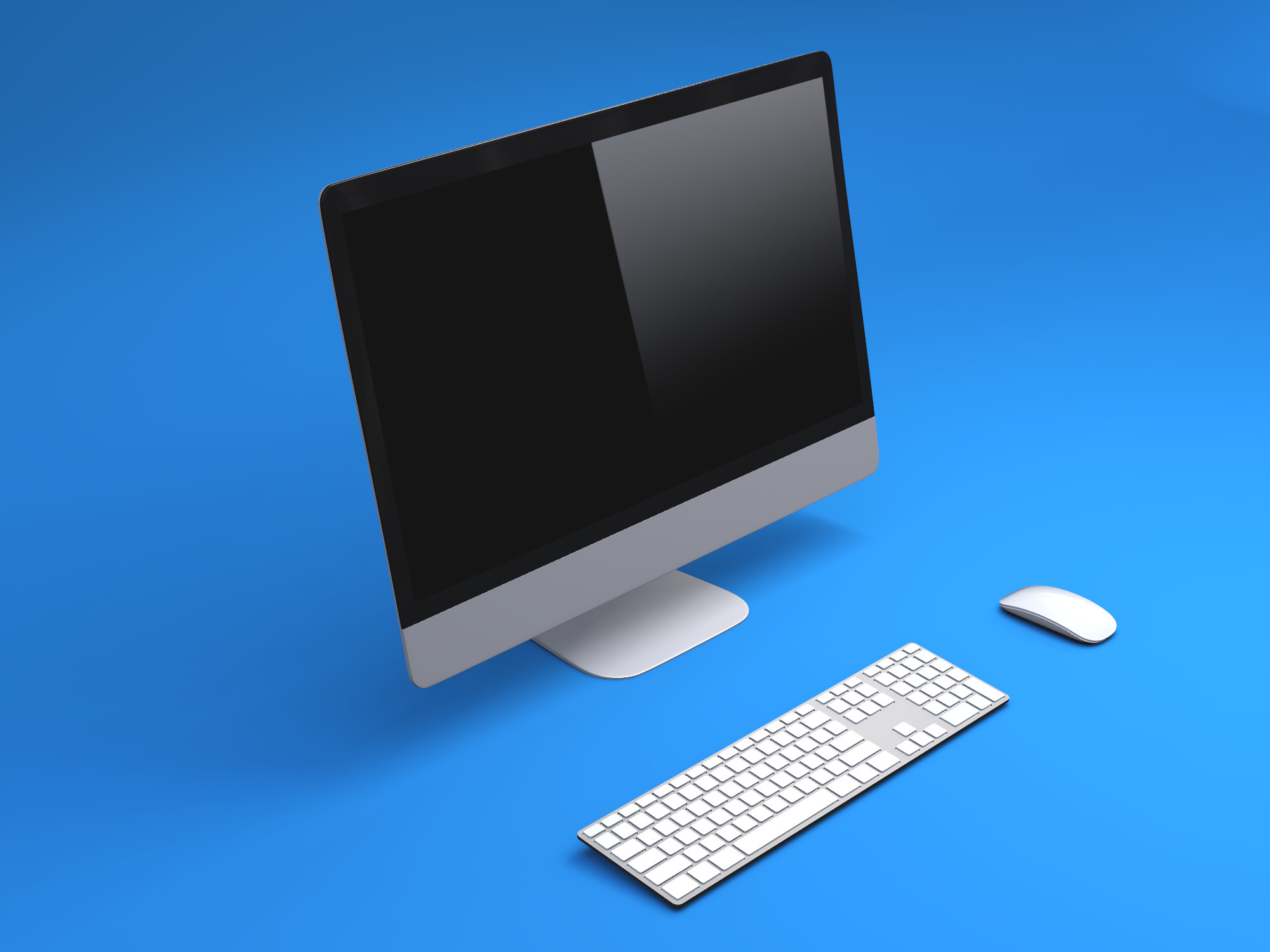 iMac with keyboard mockup - replace image (copy) - 3D design by Ezequiel Cadailhon on Feb 22, 2019