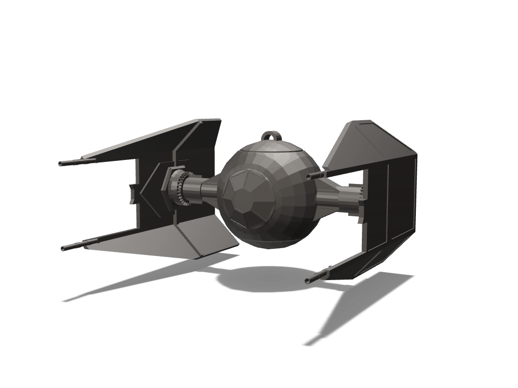 TIE Fighter Interceptor Ornament - 3D design by Odds and Ends on Dec 7, 2017