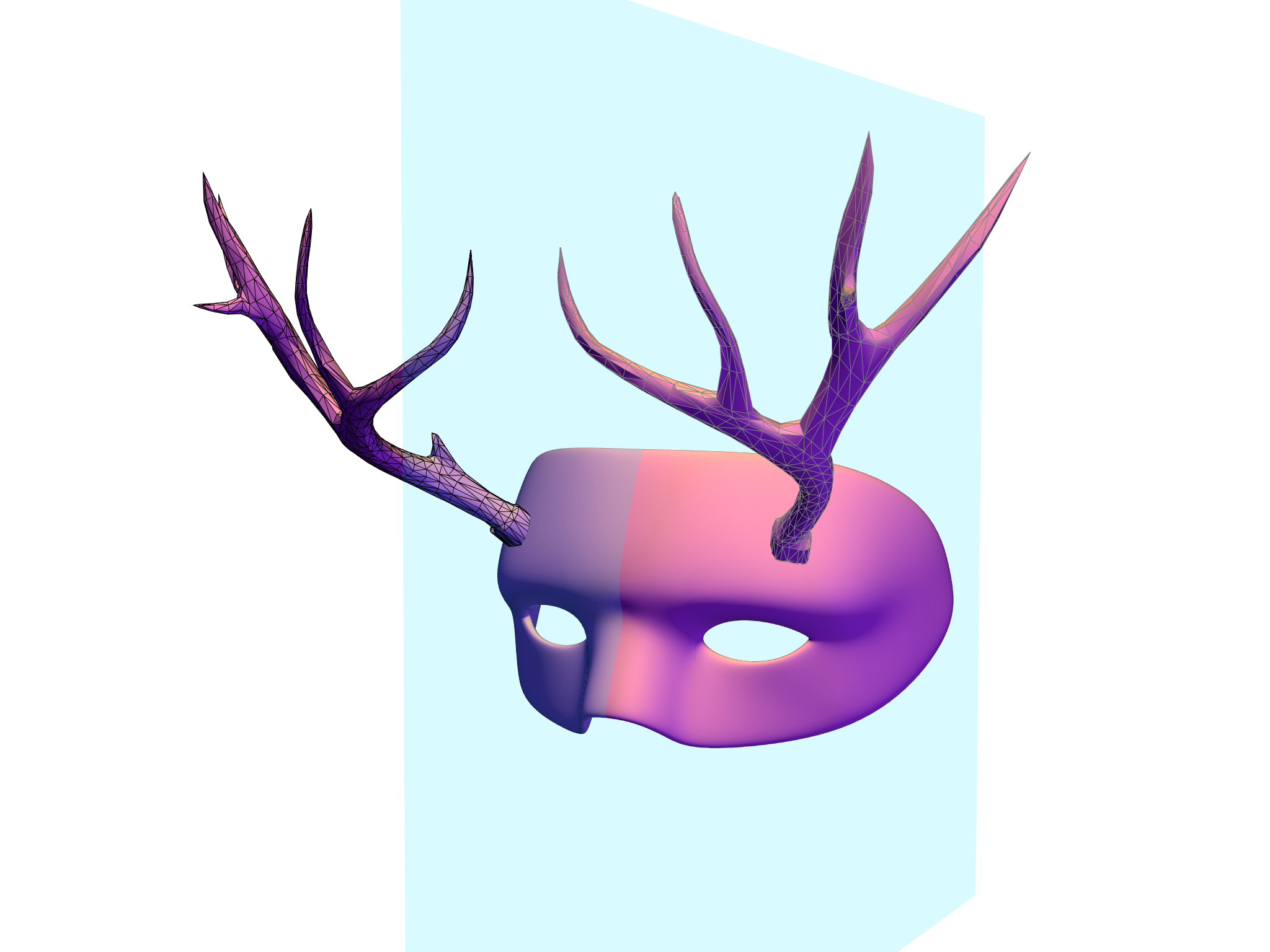 Deer Halloween Mask  - 3D design by designneta on Oct 24, 2017
