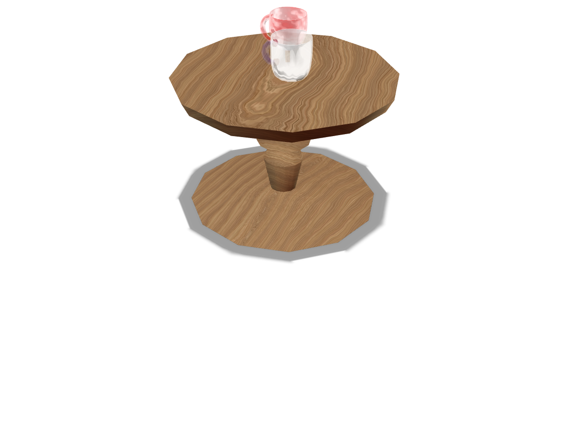 Wooden Table with 2 glasses - 3D design by 20ryani Feb 9, 2018