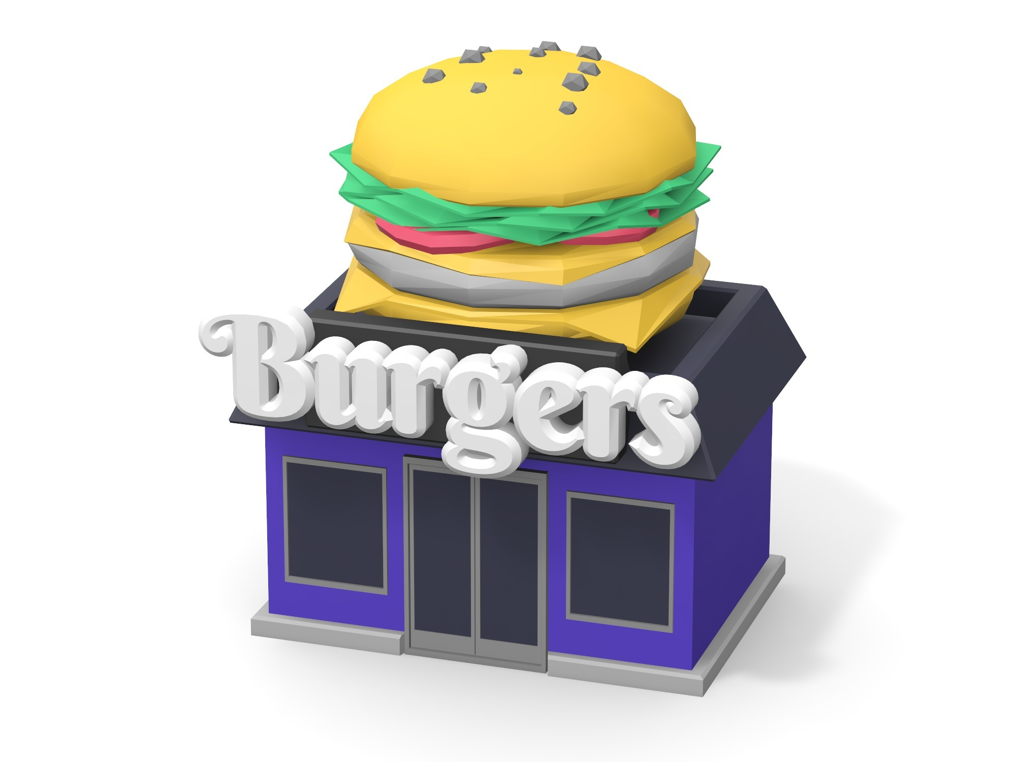 Burger shop - 3D design by Vectary assets Aug 20, 2018