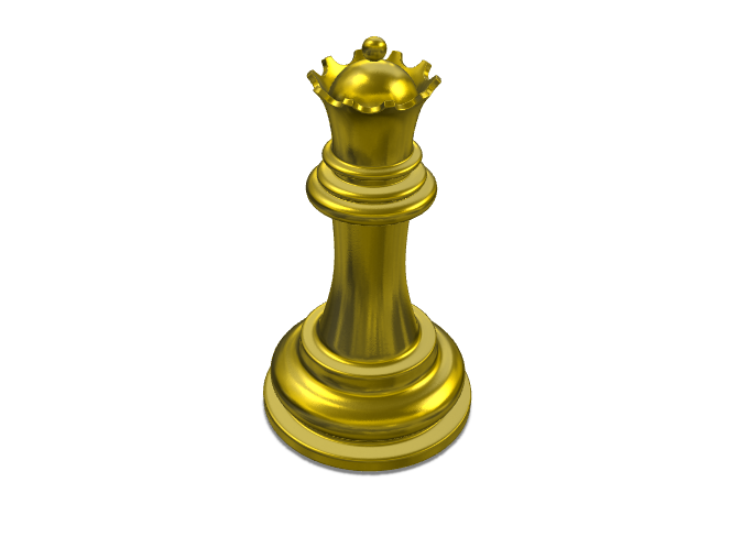 Gold Queen Chess - 3D design by Bùi Xuân Sơn Mar 7, 2018