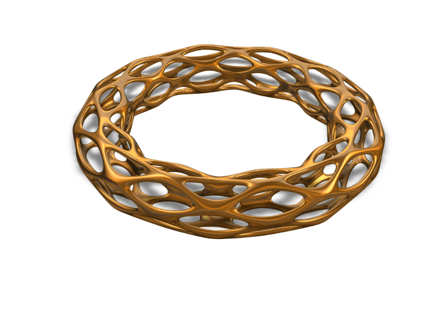 Golden Oval Ring/Bracelet - 3D design by Joey Bevilacqua on Sep 17, 2017