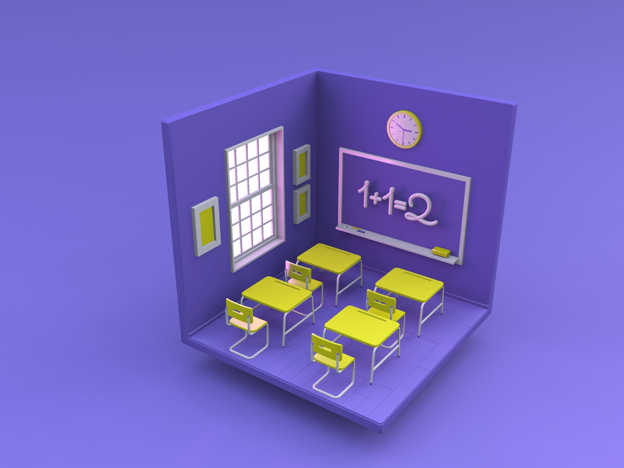 Isometric classroom - change the color and materials (copy) - 3D design by Min T K Jun 28, 2018