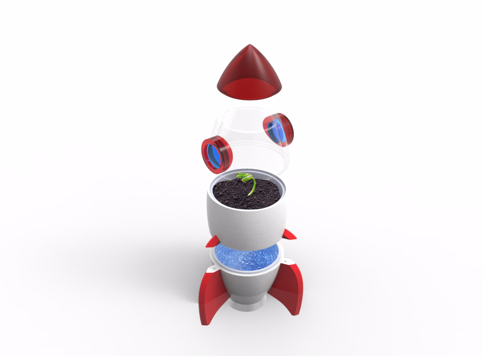 Rocket Planter with Automatic Watering - 3D design by Joey de Vries Sep 17, 2017
