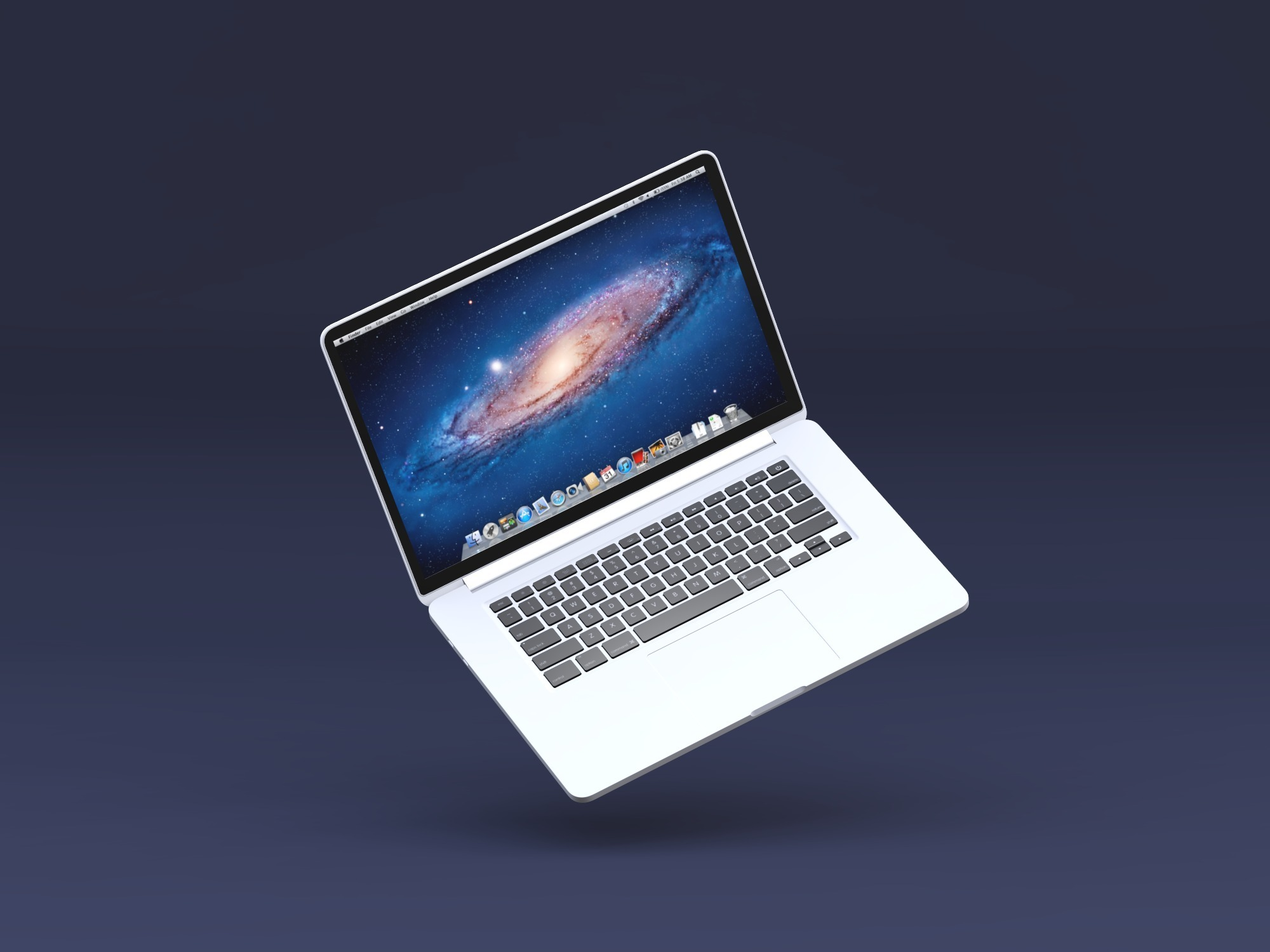 Macbook Pro floating mockup - replace image - 3D design by Vectary templates on Jul 23, 2018