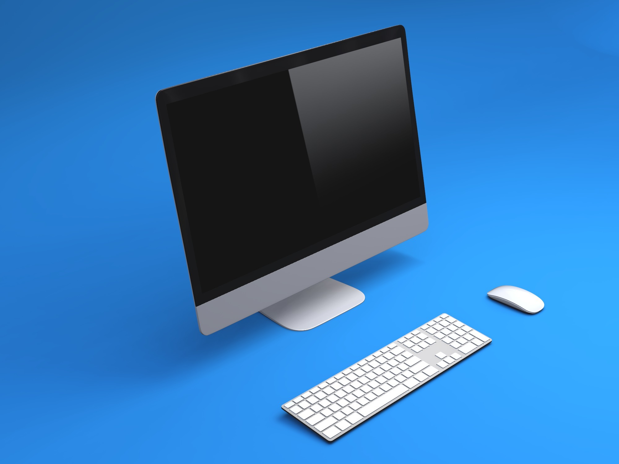 iMac with keyboard mockup - replace image - 3D design by Vectary templates on Jul 23, 2018