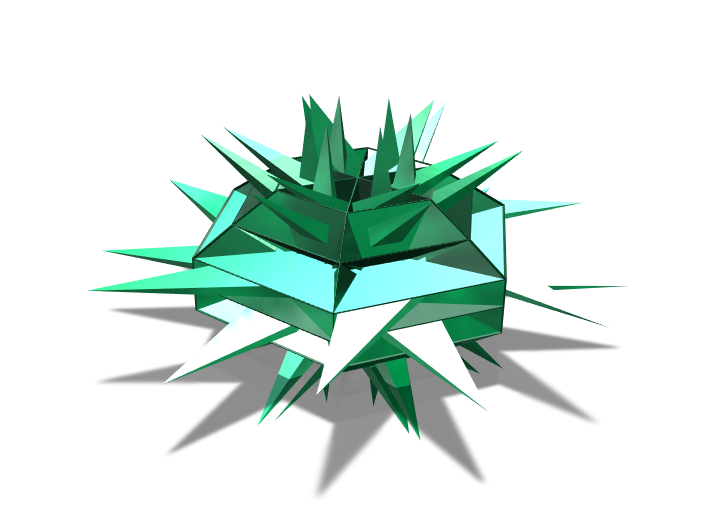 Emerald star piece (spiked) - 3D design by K.K. Studios on Apr 17, 2018