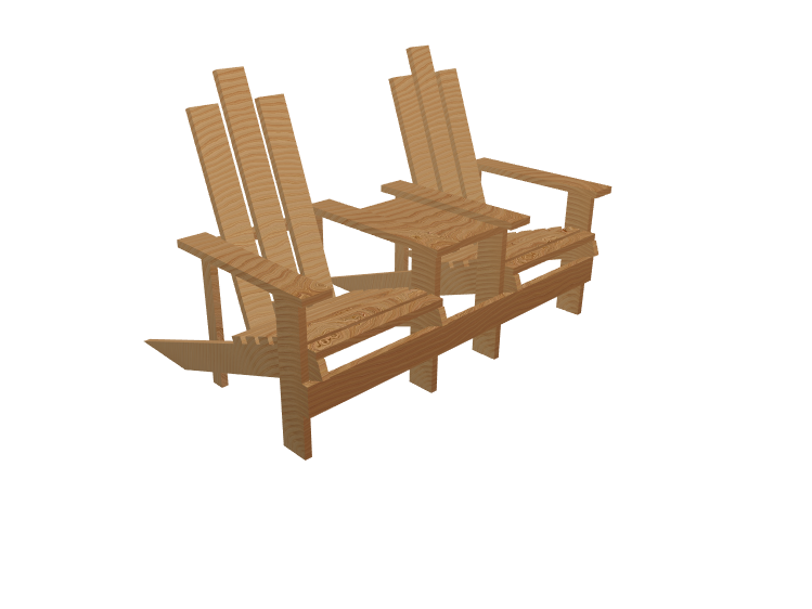Joined Adirondack Chairs - 3D design by andyfaulkner54 on Jun 4, 2018