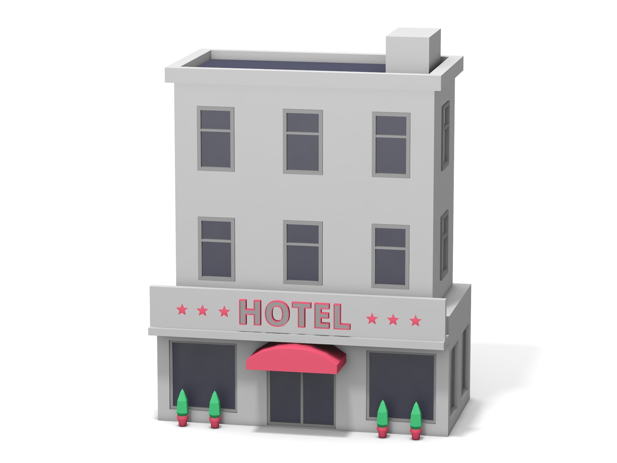 Three storey hotel - 3D design by Vectary assets Nov 7, 2018