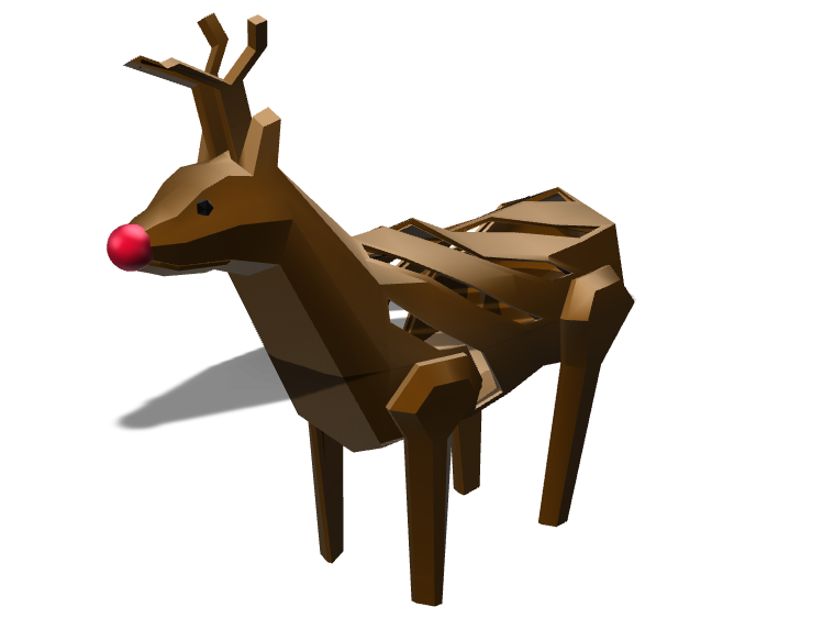 Low poly Rudolph the red nosed reindeer - 3D design by Luis on Dec 5, 2017