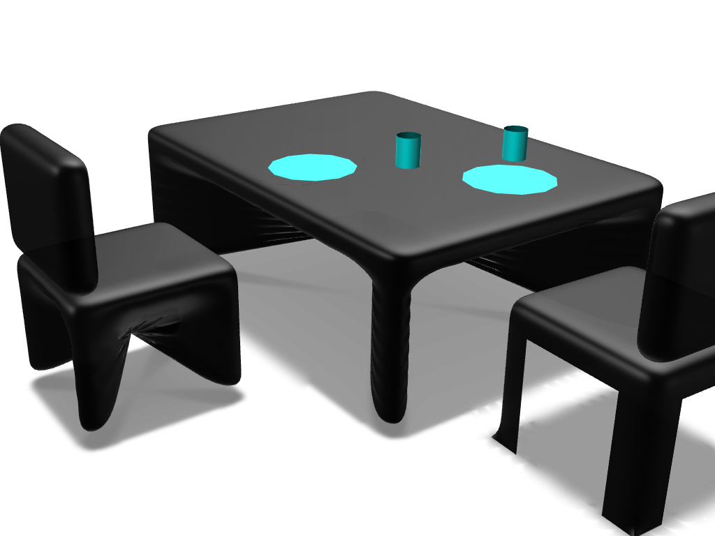 Table and chairs - 3D design by Mariana Fregoso on Nov 10, 2017