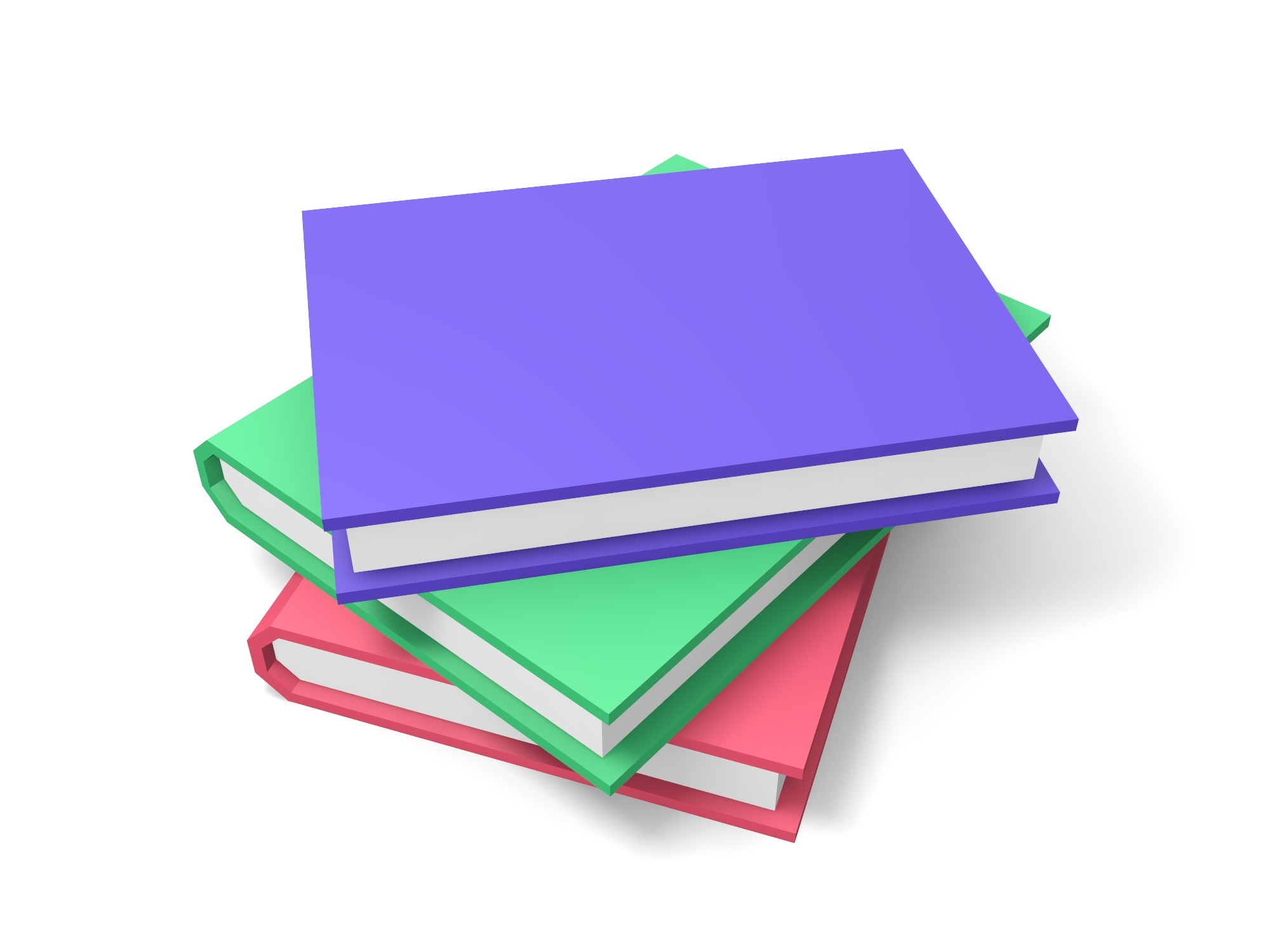 A stack of 3 colored books - 3D design by Vectary assets Aug 14, 2018