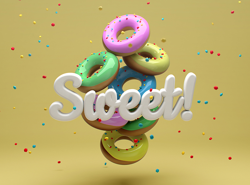 Sweet donuts - 3D design by VECTARY on Feb 21, 2018