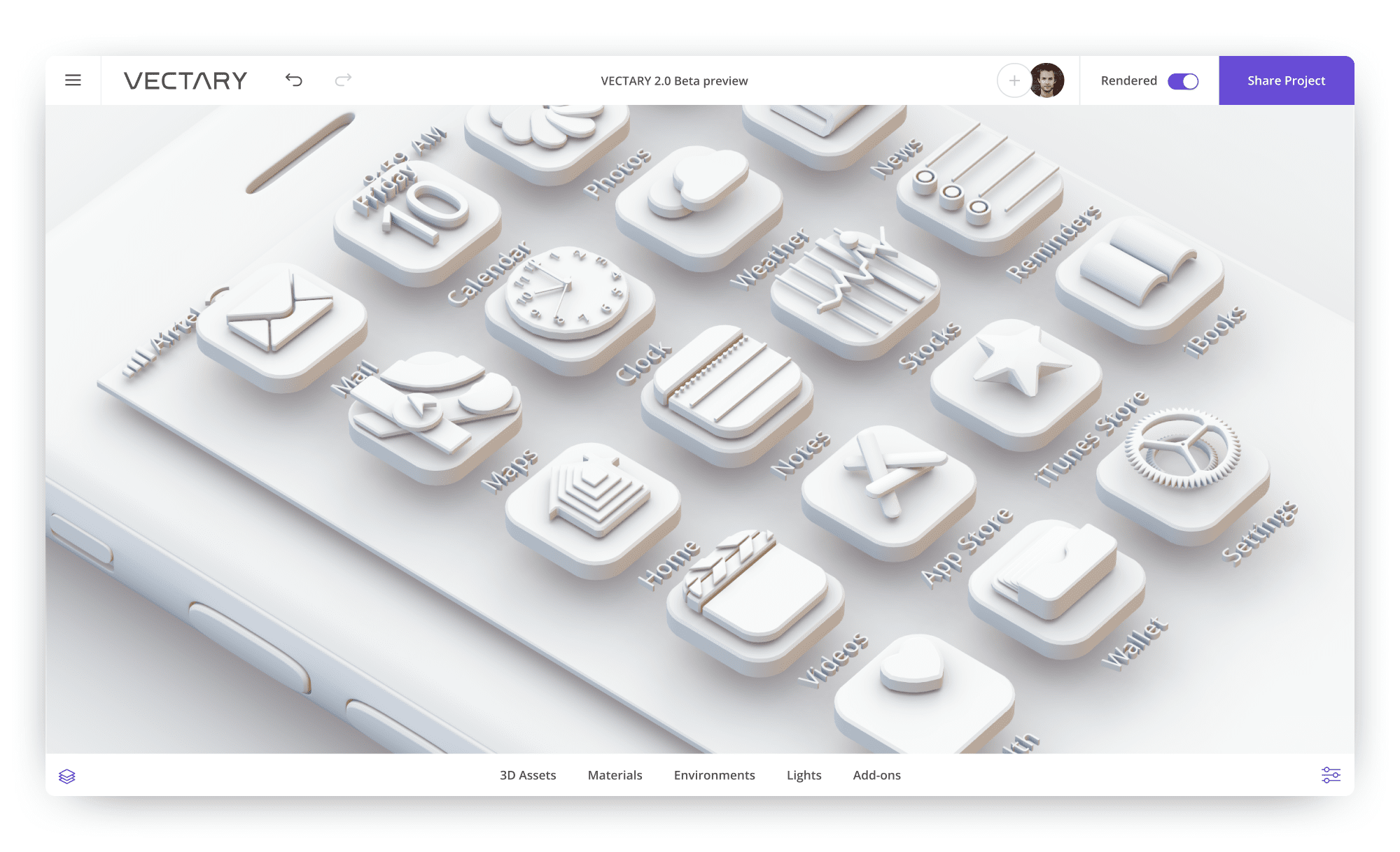 vectary-3D-icons-design-ios-app-monochrome-white-iphone