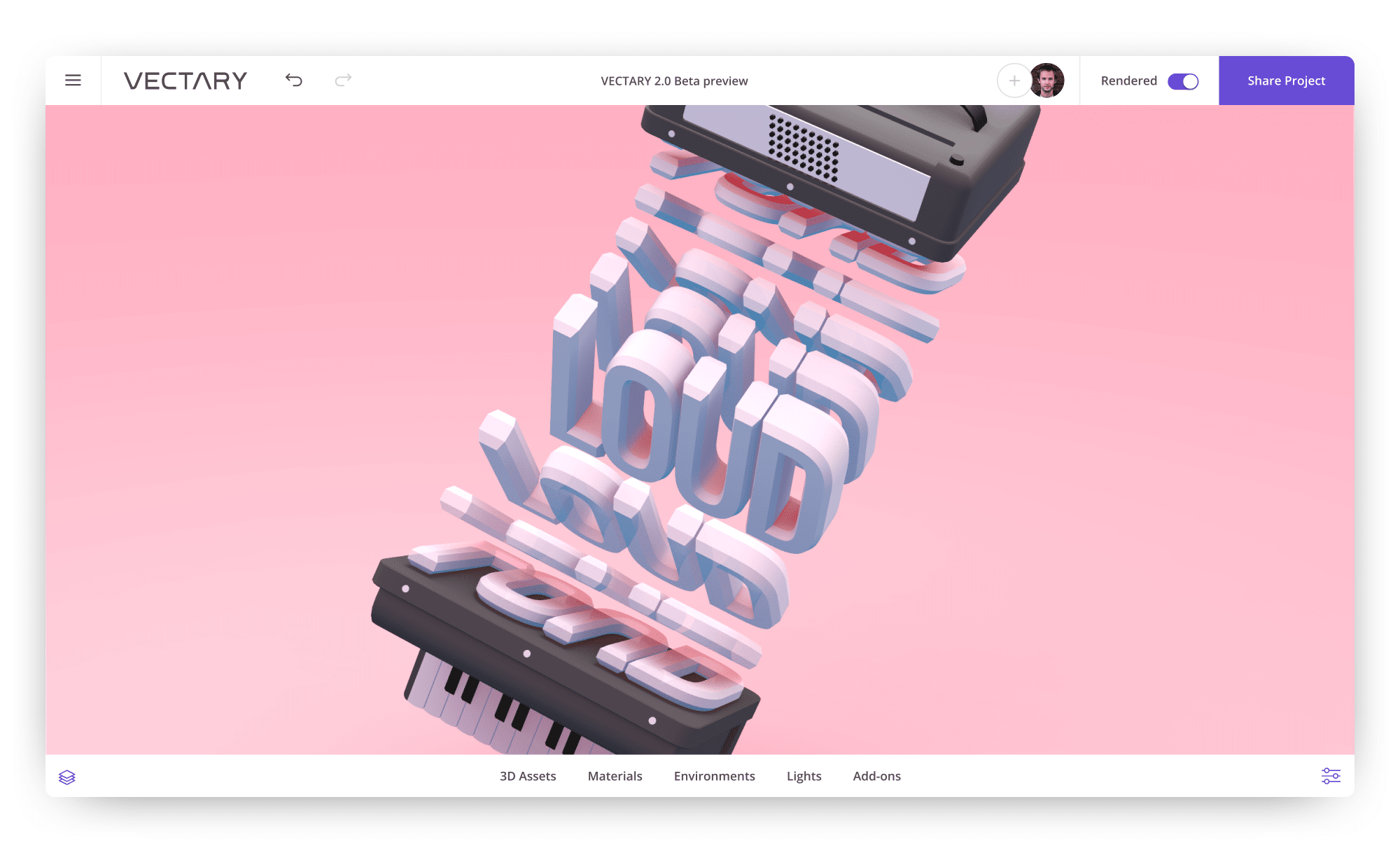 vectary-3D-typography-text-design-google-fonts-musical-instrument-loud